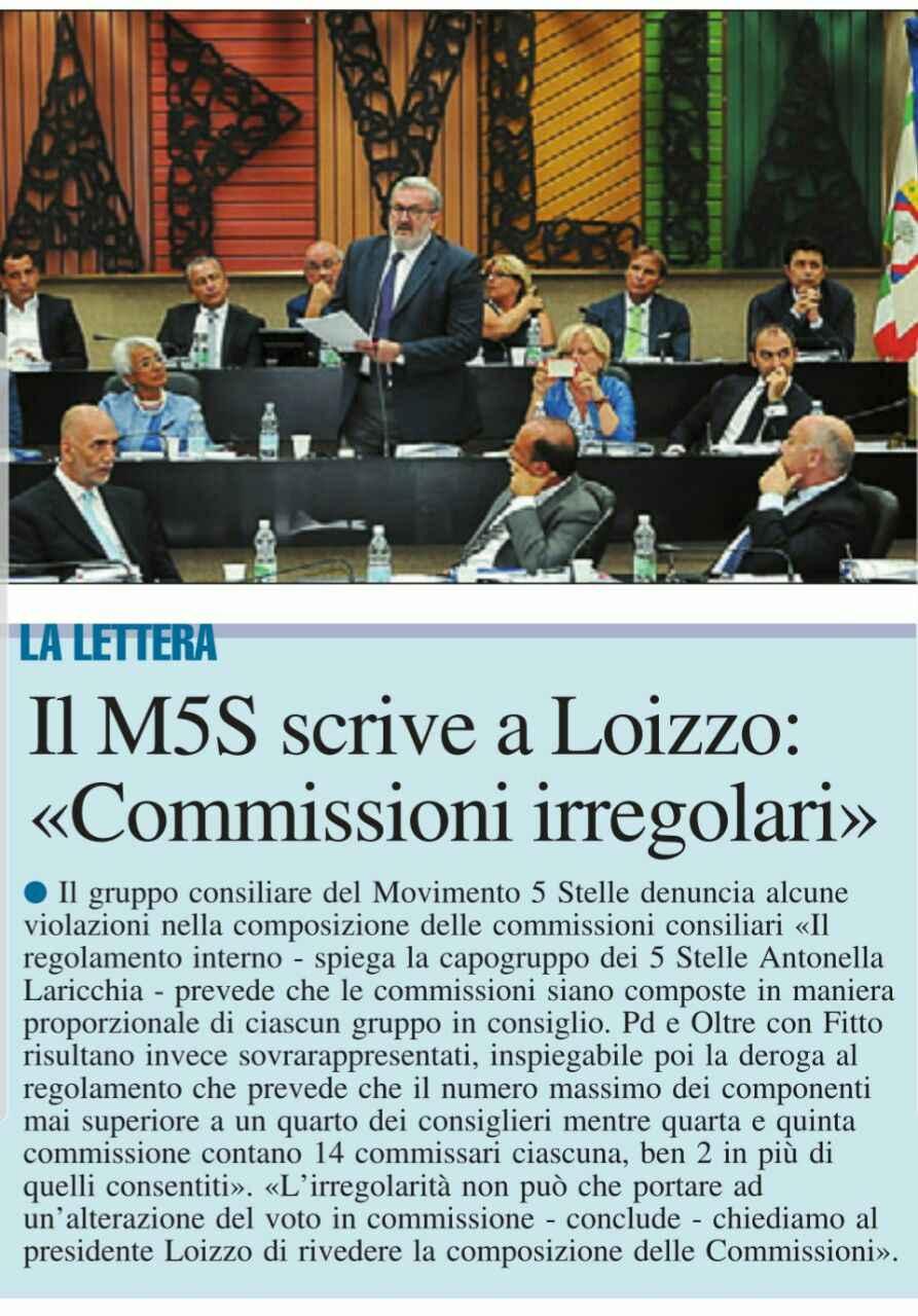"""M5S Puglia: """"Nella composizione delle Commissioni Consiliari palesi violazioni del Regolamento Interno"""""""