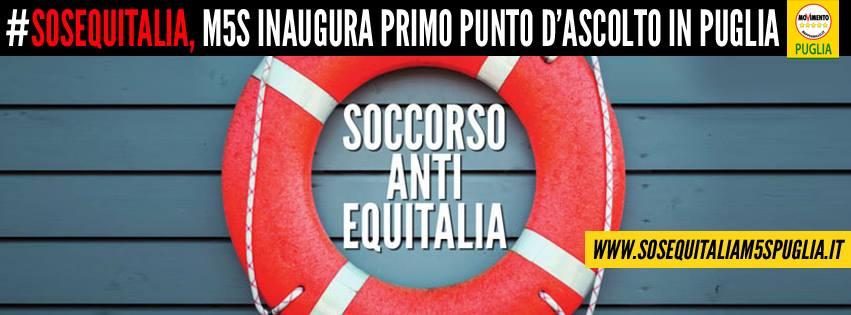 """M5S INAUGURA IL PRIMO PUNTO D'ASCOLTO """"SOS EQUITALIA"""" PUGLIESE"""