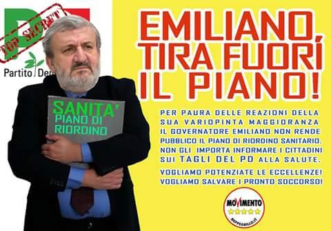 """PIANO DI RIORDINO, M5S CHIEDE AUDIZIONE DI EMILIANO IN COMMISSIONE SANITA': """"FUORI IL PIANO"""""""