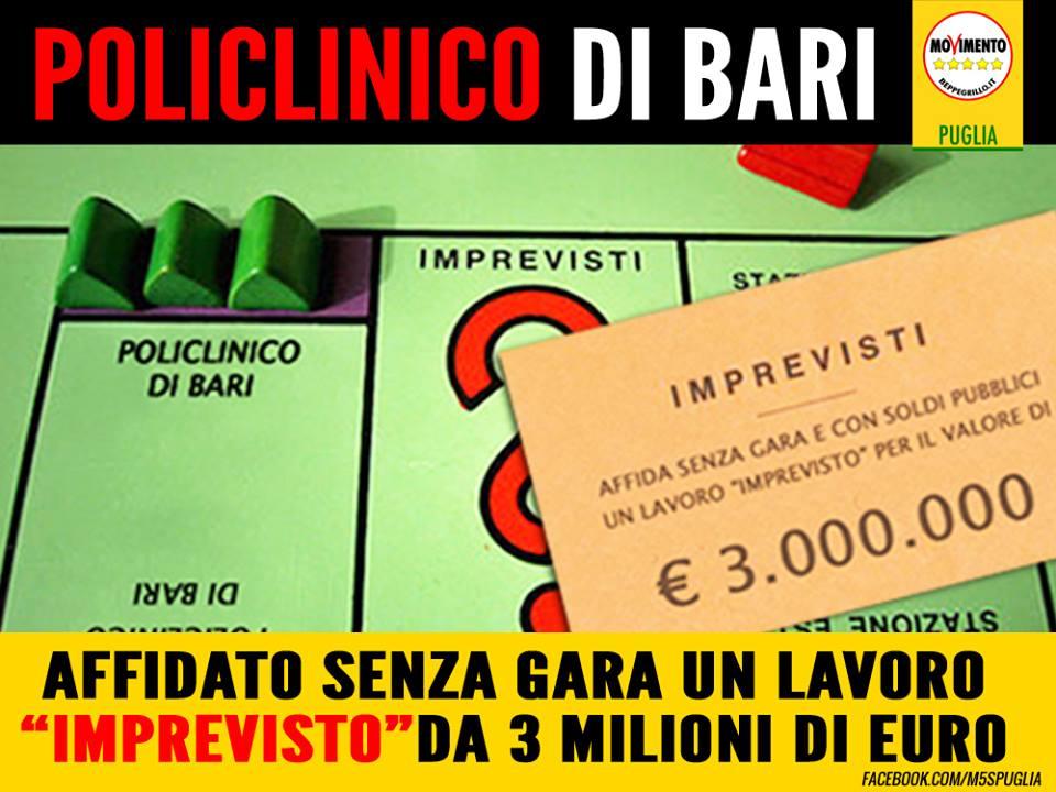 """POLICLINICO DI BARI, M5S: """"AFFIDAMENTO DIRETTO DI UN LAVORO 'IMPREVISTO' PER 3 MILIONI DI EURO""""."""