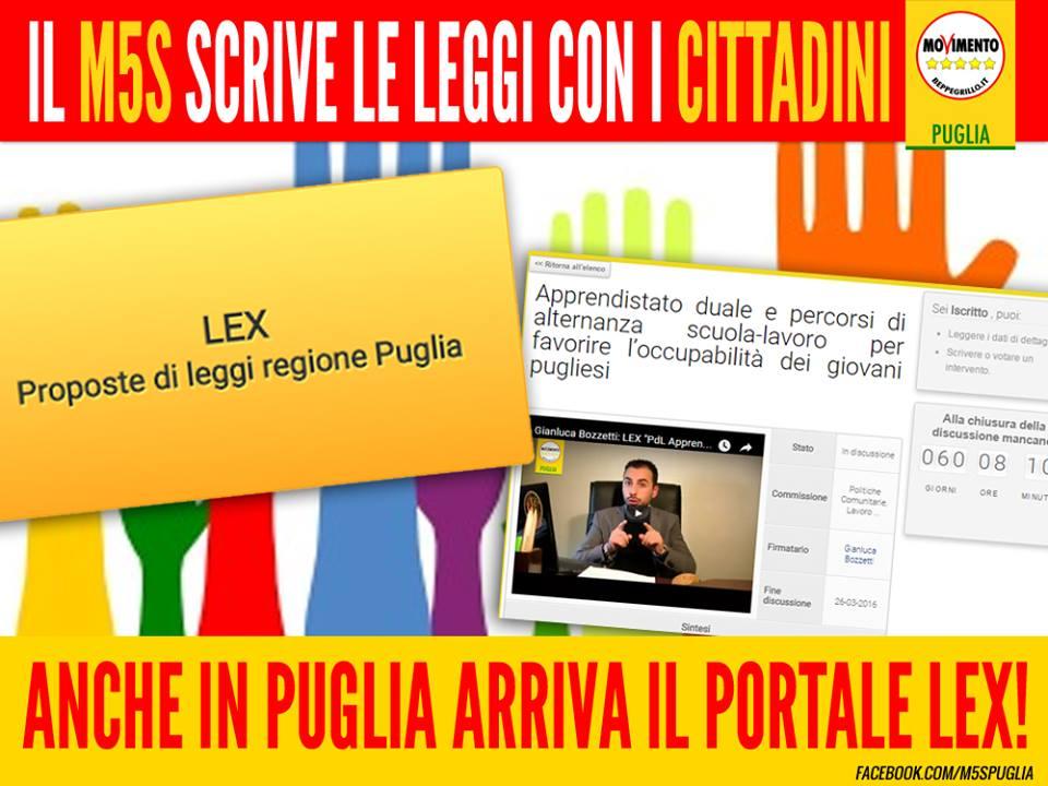 I CITTADINI POTRANNO CONTRIBUIRE ALLA SCRITTURA DELLE LEGGI DEL #M5S! ARRIVA LEX ANCHE IN PUGLIA!