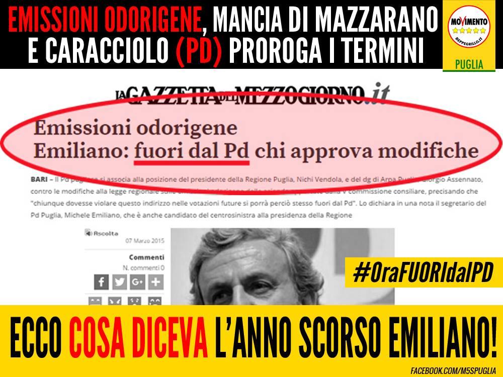 EMISSIONI ODORIGENE, MANCIA DI MAZZARANO E CARACCIOLO (PD) PROROGA I TERMINI. MA COSA DICEVA L'ANNO SCORSO MICHELE EMILIANO!?
