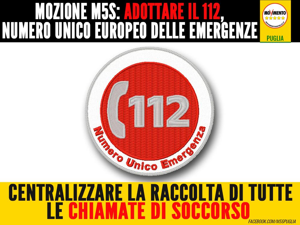 Il m5s presenta mozione adottare il 112 numero unico for Numero parlamentari m5s