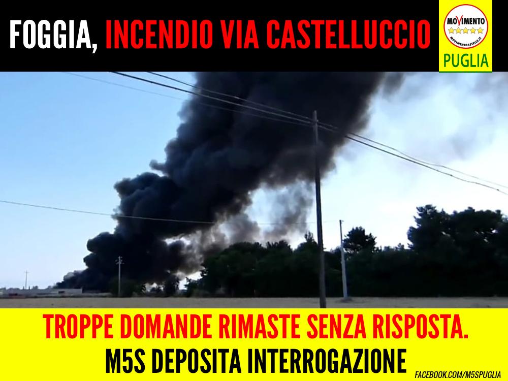 """Foggia, incendio via Castelluccio. Barone (M5S) deposita interrogazione: """"Risposte da Arpa, ASL e Regione"""""""