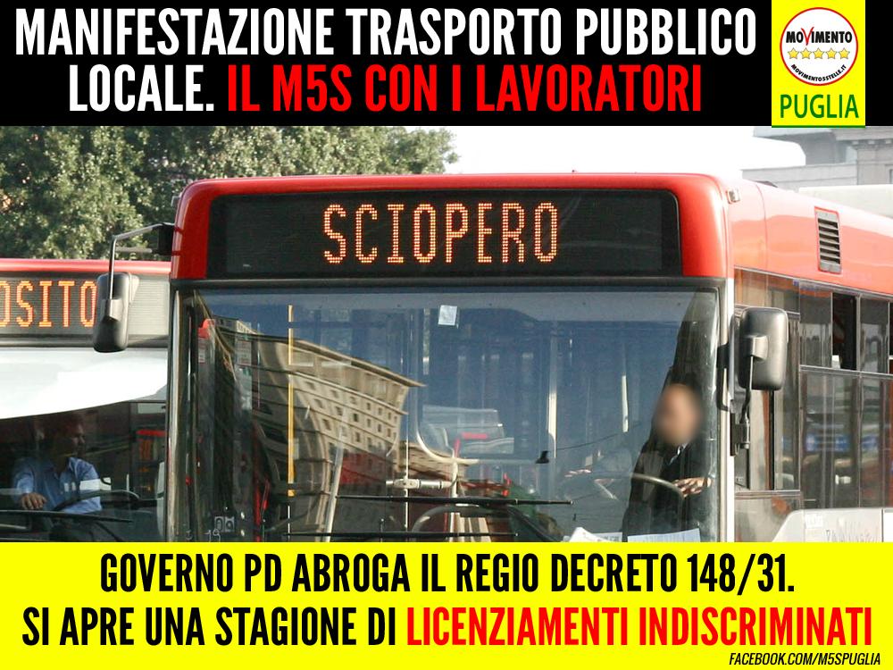 """Bozzetti (M5S) alla manifestazione TPL: """"Il Governo PD priva i lavoratori delle tutele economiche e lavorative"""""""