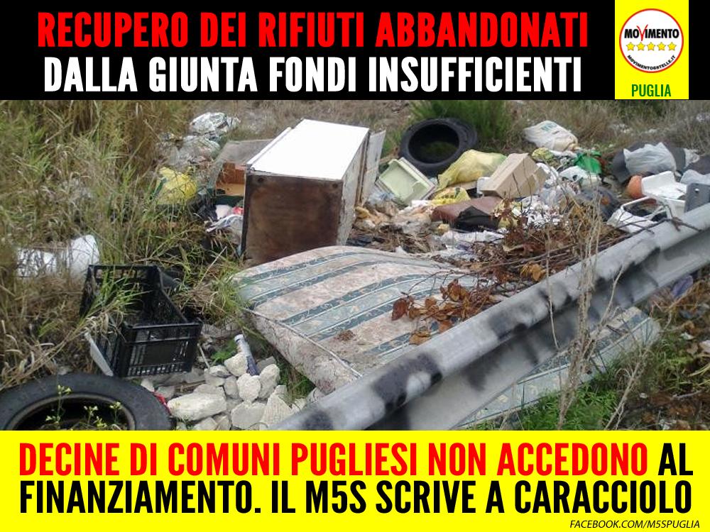 """Rifiuti abbandonati, dalla Giunta fondi insufficienti per ripulire le strade. Il M5S scrive a Caracciolo: """"Servono altri fondi per aiutare i Comuni"""""""