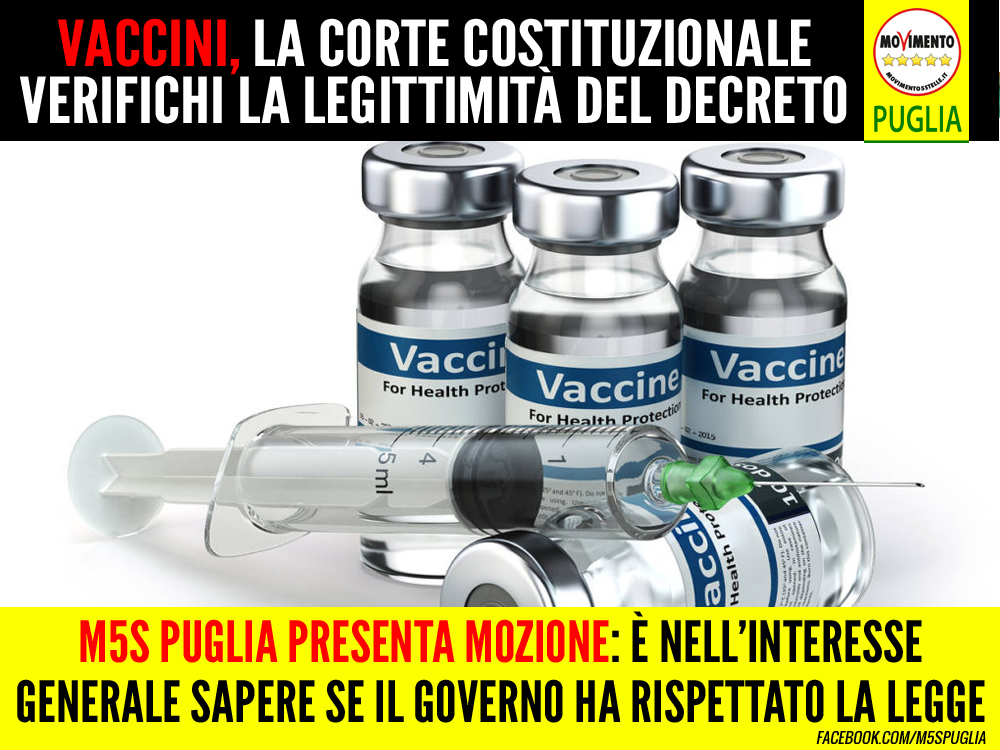 """Vaccini, M5S presenta mozione: """"La Regione chieda alla Corte Costituzionale di verificare la legittimità del Decreto"""""""