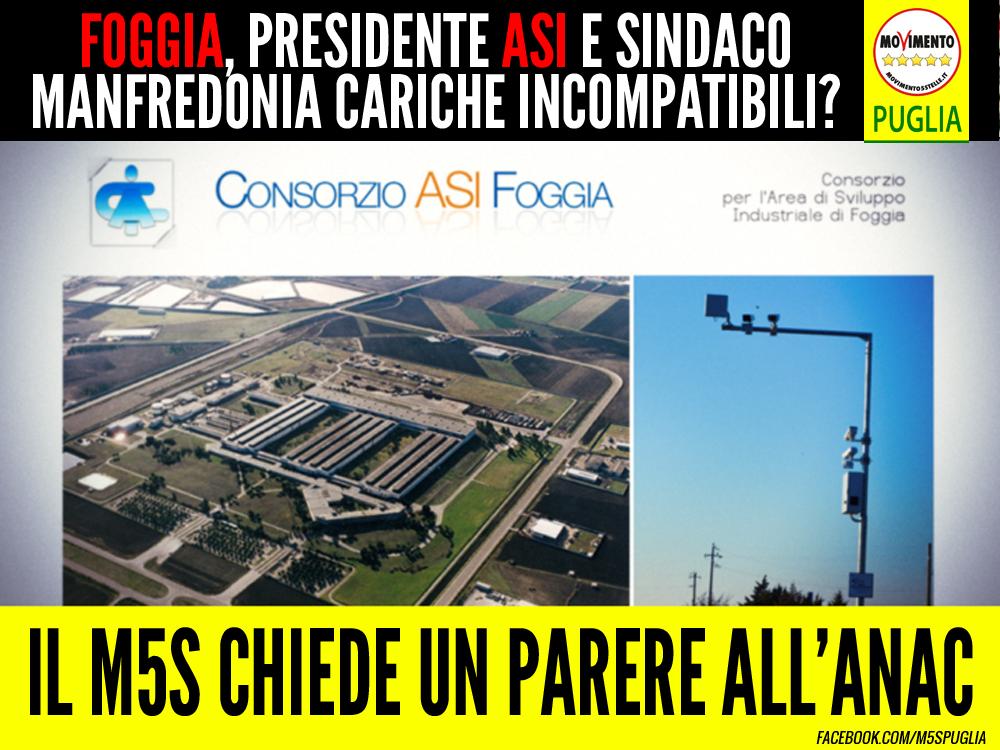 """Foggia, presidente ASI e sindaco Manfredonia cariche incompatibili? Barone (M5S) chiede parere all'ANAC: """"Emiliano si esprima"""""""