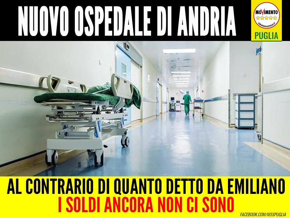 Nuovo ospedale di Andria. Di Bari (M5S): Al contrario di quanto detto da Emiliano i soldi ancora non ci sono