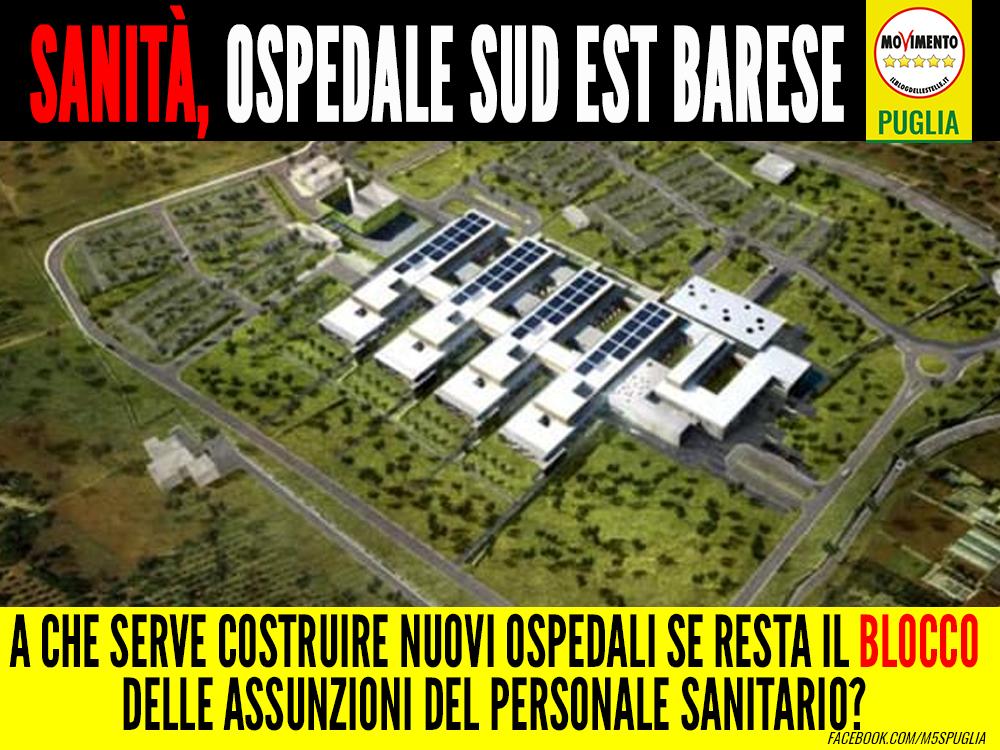 Sanità, ospedale sud est barese. Conca: A che serve costruire nuovi ospedali se resta il blocco delle assunzioni del personale sanitario?