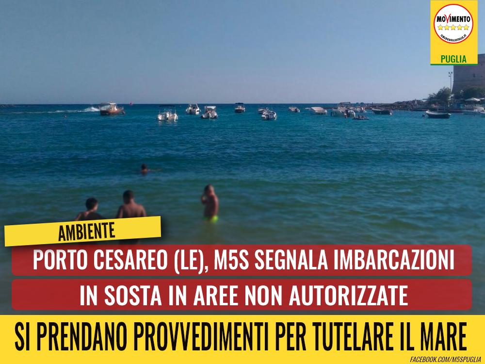 Porto Cesareo (Le), M5S segnala imbarcazioni in sosta in aree non autorizzate. Prendere provvedimenti per tutelare il mare