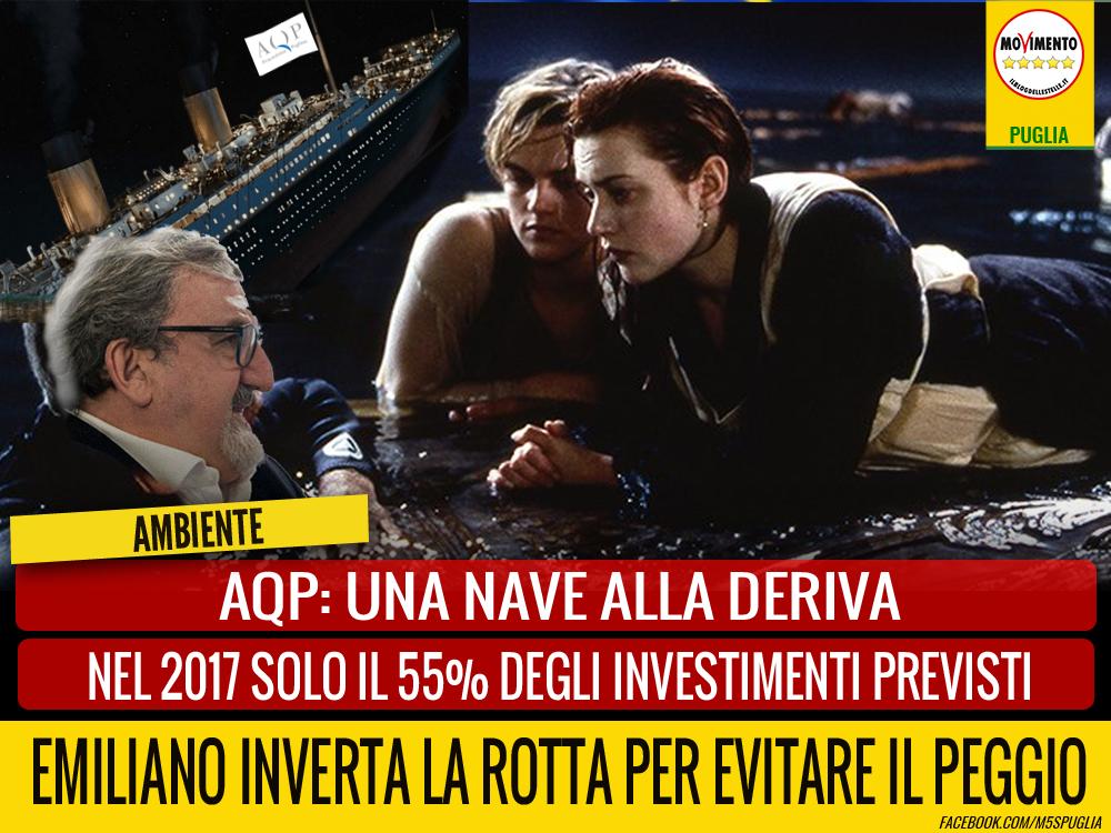 """Acquedotto Pugliese, nel 2017 solo il 55% degli investimenti previsti. Laricchia (M5S): """"Una nave alla deriva. Emiliano corregga i suoi errori."""""""
