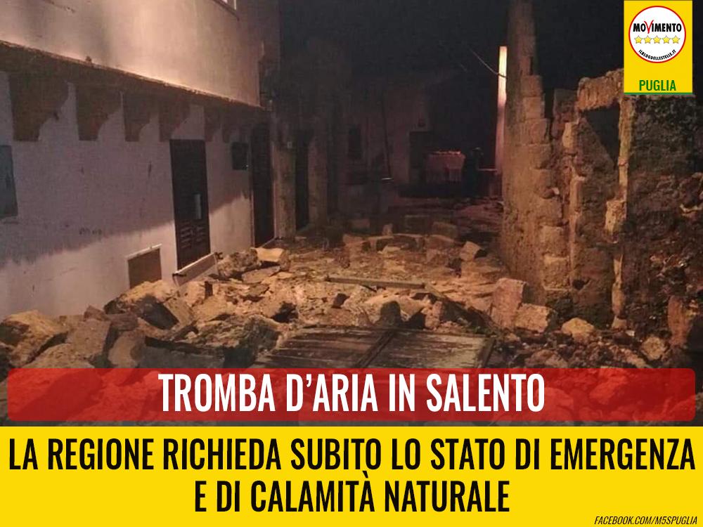 Tromba d'aria in Salento. Casili: Regione richieda subito lo stato di emergenza e di calamità naturale
