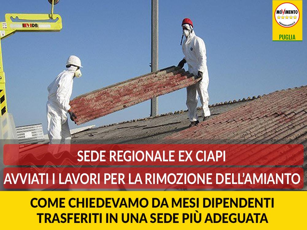 """Sede regionale ex Ciapi. Avviati lavori di rimozione amianto. Trevisi (M5S): """"Finalmente dipendenti trasferiti in una sede più adeguata"""""""