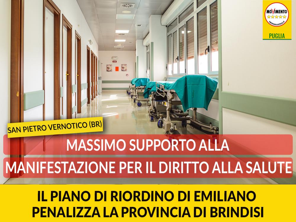 """San Pietro Vernotico (Br), manifestazione per il diritto alla salute. Bozzetti: """"Massimo supporto per dire no al piano di riordino che penalizza la nostra provincia"""""""