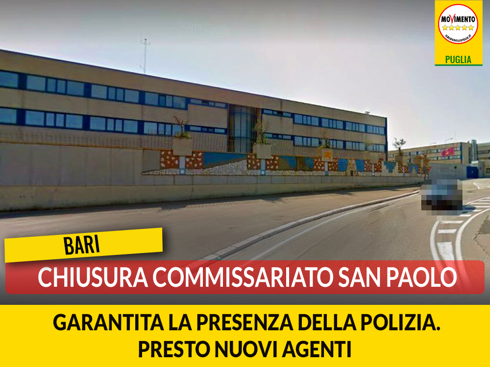 Chiusura commissariato San Paolo. M5S: Garantita la sicurezza grazie alla presenza del polifunzionale