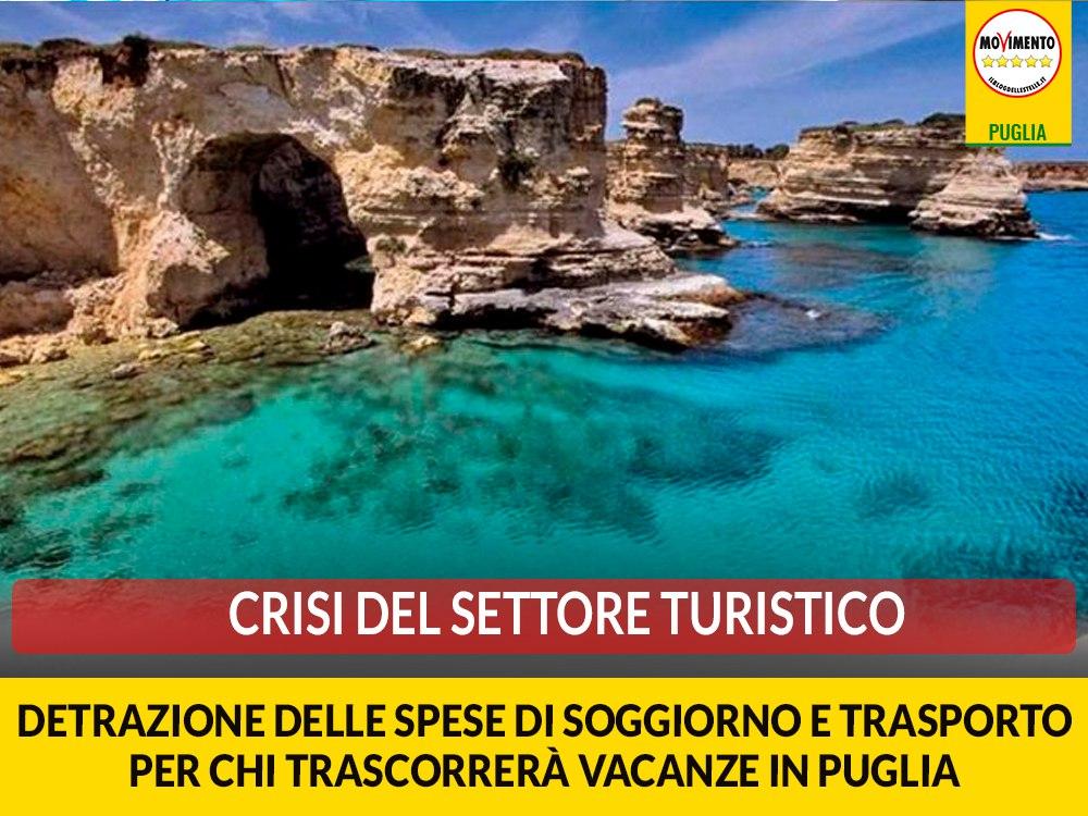 """Crisi del settore turistico. M5S: """"Detrazione delle spese di soggiorno e trasporto per chi trascorrerà vacanze in Puglia"""""""