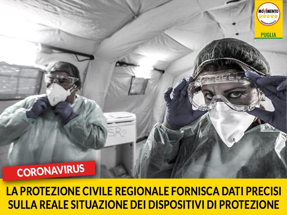 Coronavirus. M5S chiede alla Protezione Civile Regionale di implementare il monitoraggio dei DPI distribuiti sul territorio e rendere pubblici i dati