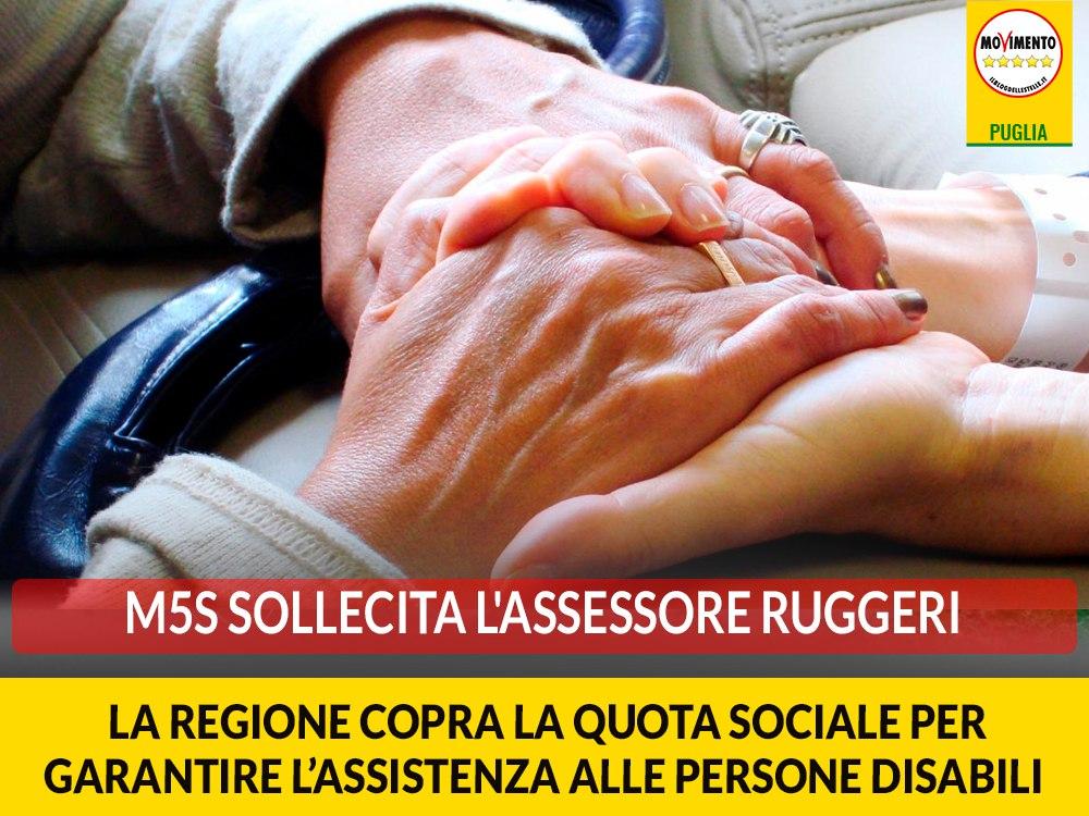 """Coronavirus. Galante (M5S) scrive a Ruggeri: """"La Regione provveda alla copertura della quota sociale per garantire l'assistenza alle persone disabili"""""""