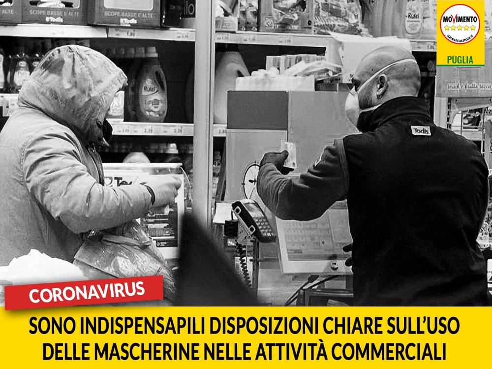 """Coronavirus. Laricchia (M5S) scrive a Emiliano.  """"Necessarie disposizioni chiare sull'uso delle mascherine nelle attività commerciali"""""""