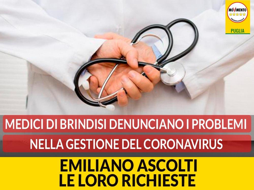 """Ordine dei Medici di Brindisi scrive a Emiliano. Bozzetti (M5S): """"Richieste non possono rimanere inascoltate"""""""