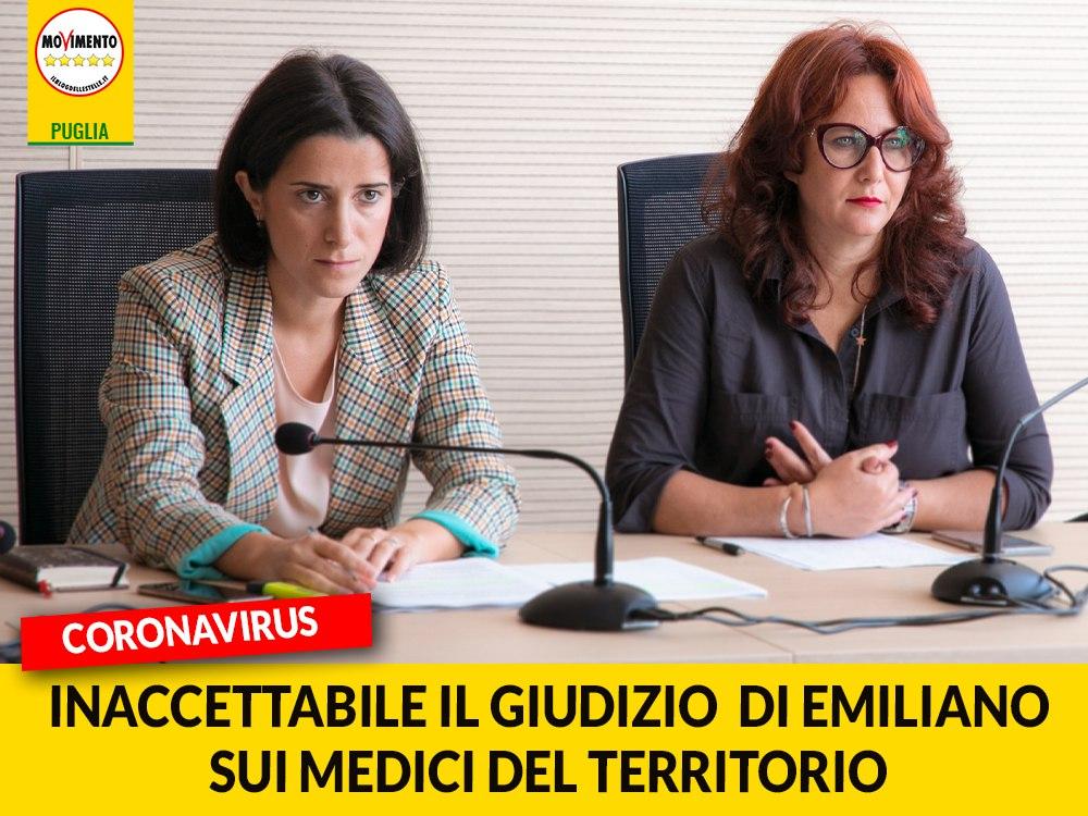 """Coronavirus. M5S: """"Stupore per le parole di Emiliano, medici e pediatri da sempre in prima linea"""""""