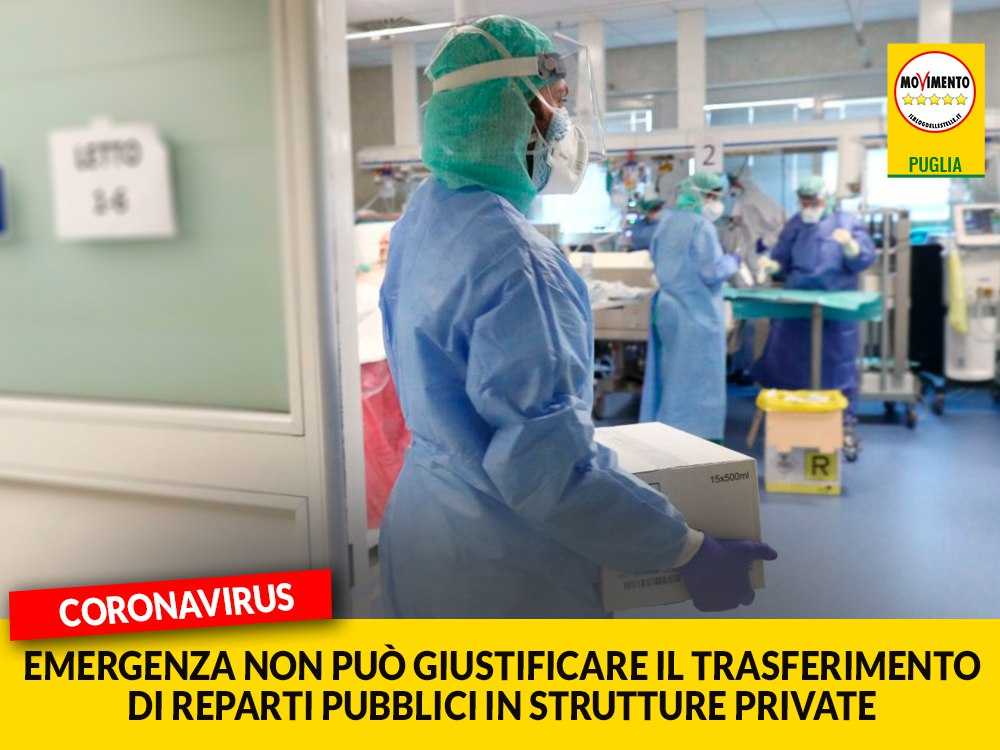 """Coronavirus. Laricchia (M5S) denuncia: """"Grave trasferire reparti pubblici in strutture private"""""""