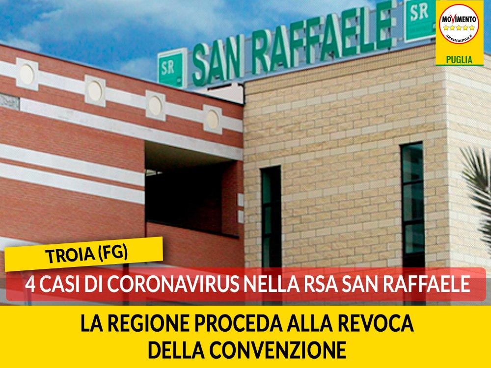 """Troia (Fg). Quattro casi di Coronavirus nella RSA San Raffaele. M5S: """"La Regione proceda alla revoca della convenzione"""""""